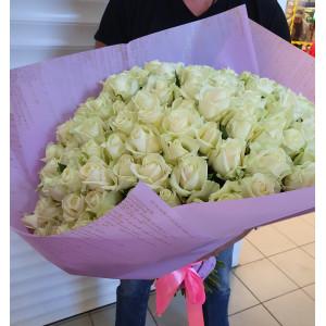 Букет из 101 белой кенийской розы