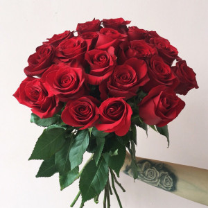 Букет из 19 красных  эквадорских роз
